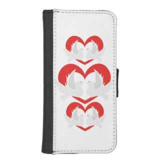 Illustration peace doves with heart iPhone SE/5/5s wallet case