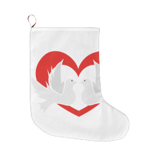 Illustration peace doves with heart large christmas stocking