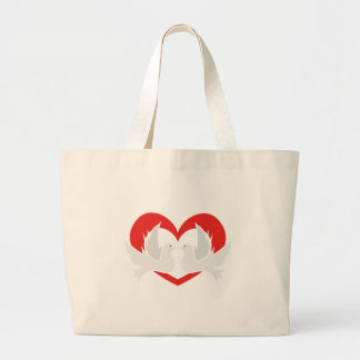 Illustration peace doves with heart large tote bag