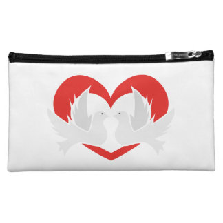 Illustration peace doves with heart makeup bag