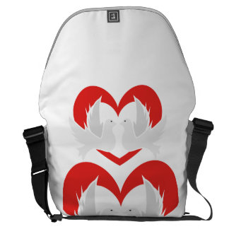 Illustration peace doves with heart messenger bags