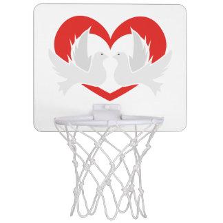 Illustration peace doves with heart mini basketball hoop