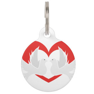 Illustration peace doves with heart pet ID tag