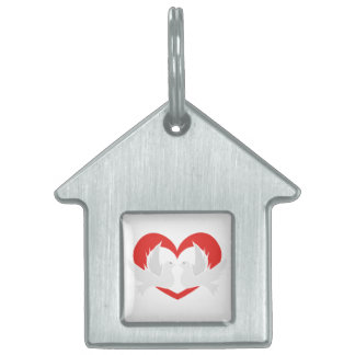 Illustration peace doves with heart pet name tag