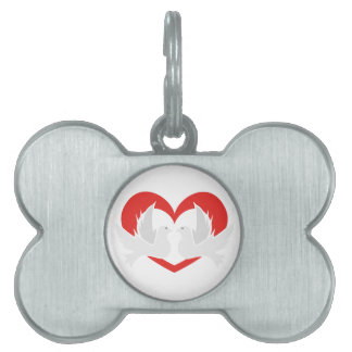 Illustration peace doves with heart pet tag
