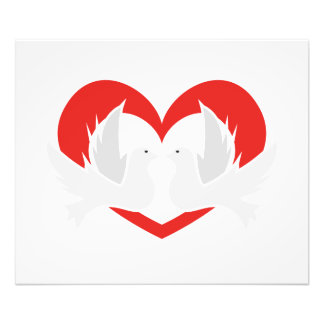 Illustration peace doves with heart photo