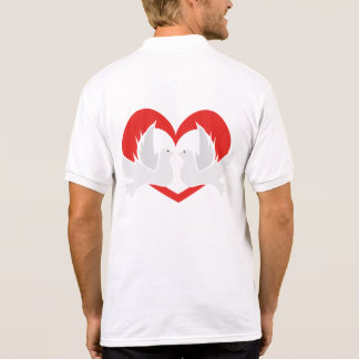 Illustration peace doves with heart polo shirt