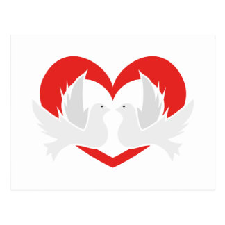 Illustration peace doves with heart postcard