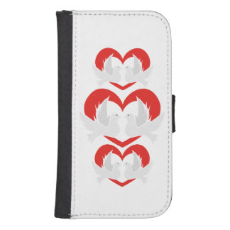 Illustration peace doves with heart samsung s4 wallet case