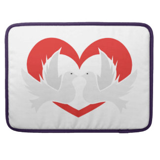 Illustration peace doves with heart sleeve for MacBook pro