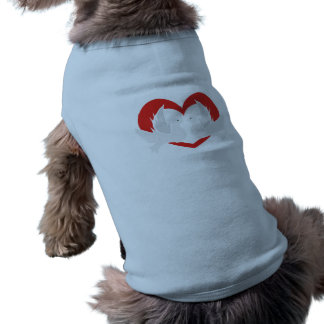 Illustration peace doves with heart sleeveless dog shirt