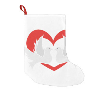 Illustration peace doves with heart small christmas stocking