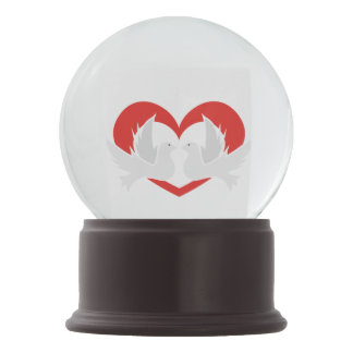 Illustration peace doves with heart snow globe