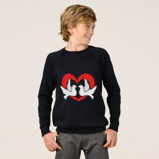 Illustration peace doves with heart sweatshirt