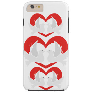 Illustration peace doves with heart tough iPhone 6 plus case