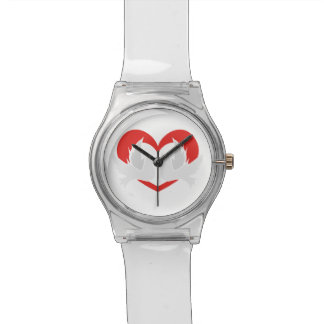Illustration peace doves with heart watch