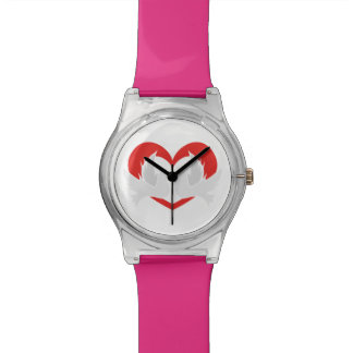 Illustration peace doves with heart watches