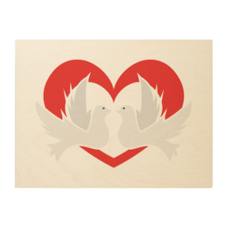Illustration peace doves with heart wood wall decor