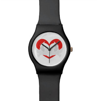Illustration peace doves with heart wrist watches