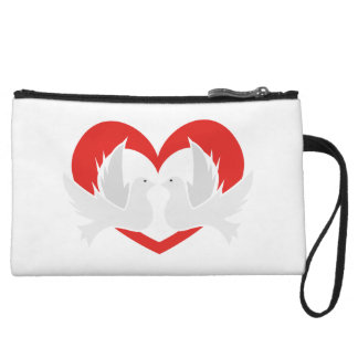 Illustration peace doves with heart wristlet