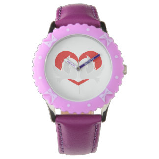 Illustration peace doves with heart wristwatch