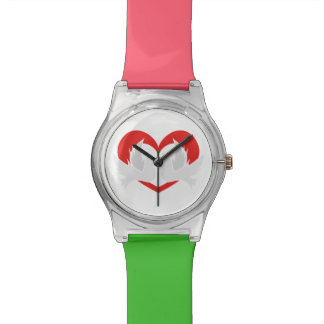Illustration peace doves with heart wristwatches
