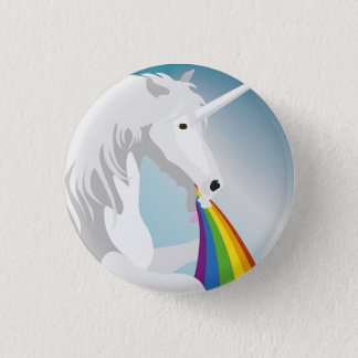 Illustration puking Unicorns 3 Cm Round Badge