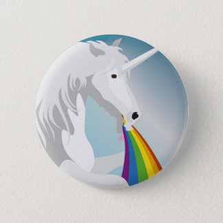 Illustration puking Unicorns 6 Cm Round Badge