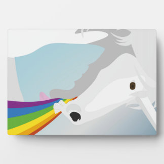 Illustration puking Unicorns Plaque