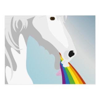 Illustration puking Unicorns Postcard