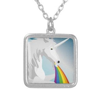 Illustration puking Unicorns Silver Plated Necklace
