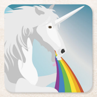 Illustration puking Unicorns Square Paper Coaster