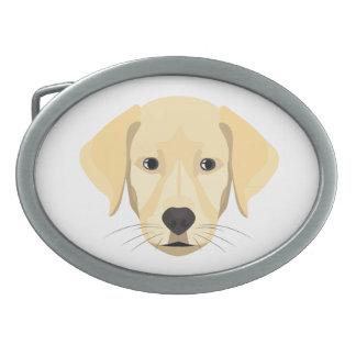 Illustration Puppy Golden Retriver Belt Buckles
