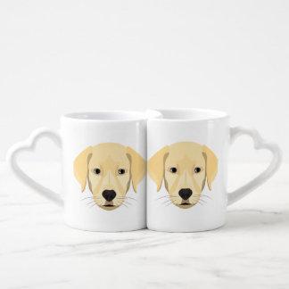 Illustration Puppy Golden Retriver Coffee Mug Set