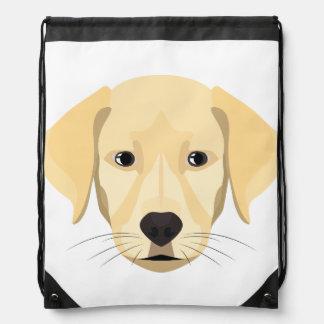 Illustration Puppy Golden Retriver Drawstring Bag