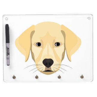 Illustration Puppy Golden Retriver Dry Erase Board With Key Ring Holder