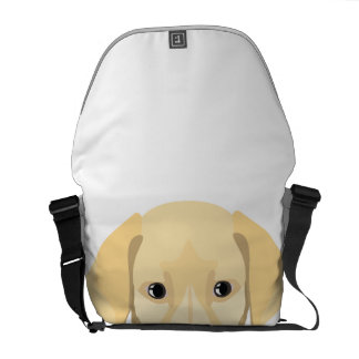 Illustration Puppy Golden Retriver Messenger Bags