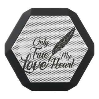 Illustration True Love Feather Black Bluetooth Speaker