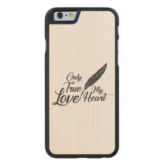 Illustration True Love Feather Carved Maple iPhone 6 Case