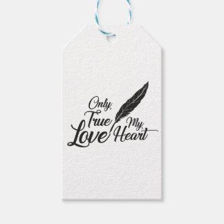 Illustration True Love Feather Gift Tags