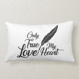 Illustration True Love Feather Lumbar Cushion