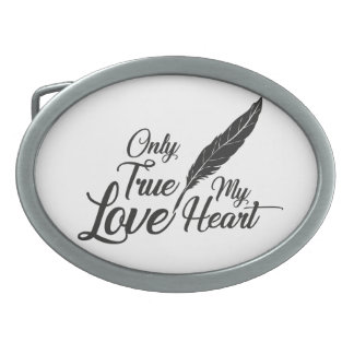 Illustration True Love Feather Oval Belt Buckles