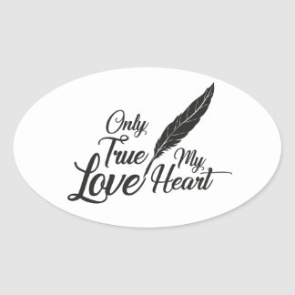Illustration True Love Feather Oval Sticker