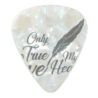 Illustration True Love Feather Pearl Celluloid Guitar Pick