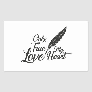 Illustration True Love Feather Rectangular Sticker