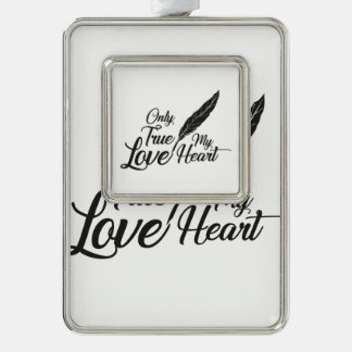 Illustration True Love Feather Silver Plated Framed Ornament