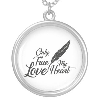 Illustration True Love Feather Silver Plated Necklace
