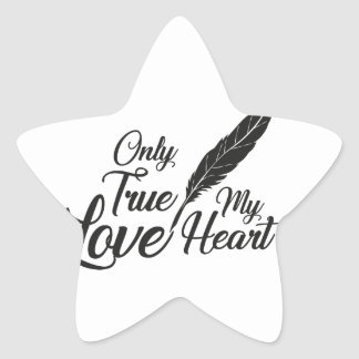 Illustration True Love Feather Star Sticker