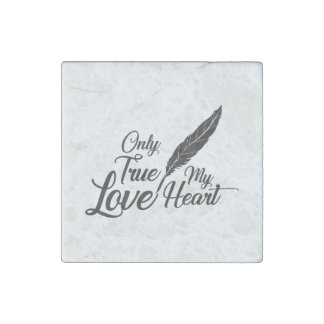Illustration True Love Feather Stone Magnet