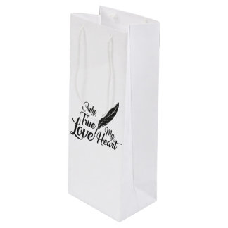 Illustration True Love Feather Wine Gift Bag